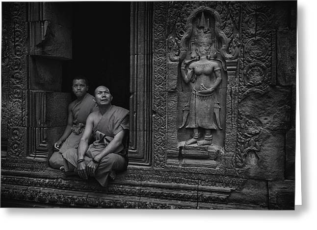 Monk-religious Occupation Greeting Cards - Angkor Wat Monks BW Greeting Card by David Longstreath