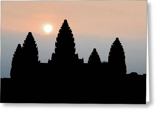Angkor Wat Sunrise Greeting Card by Dave Bowman