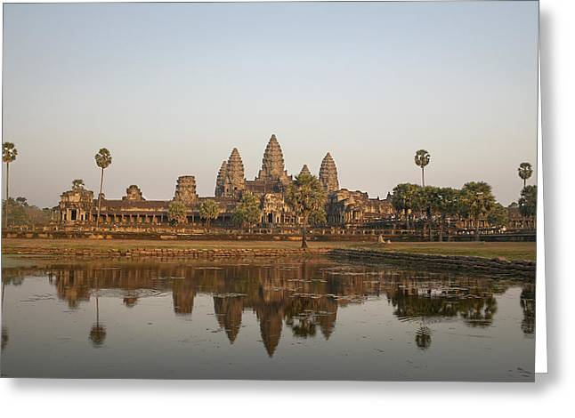 Reflexion Greeting Cards - Angkor Wat Temple, Cambodia Greeting Card by Huy Lam