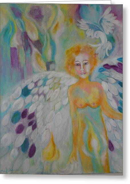 Angel Blues Greeting Cards - Angle of Hope Greeting Card by Cheryl Gorman