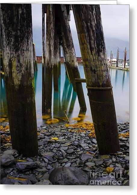 Pacific Ocean Prints Greeting Cards - Angled Alaska Pier Greeting Card by Jennifer White
