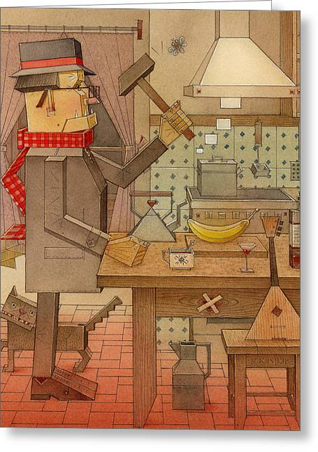 Corner Kitchen Greeting Cards - Angleman04 Greeting Card by Kestutis Kasparavicius