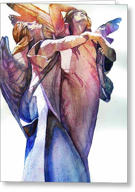 Religious Paintings Greeting Cards - Angles On High Greeting Card by Belinda Hamilton