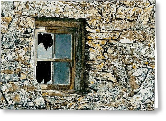 Outbuildings Greeting Cards - Anglesey farm window Greeting Card by Alwyn Dempster Jones