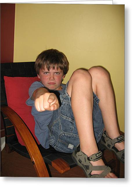 Emotional Gestures Greeting Cards - Angry Boy Pointing the Accusing Finger Greeting Card by Christopher Purcell