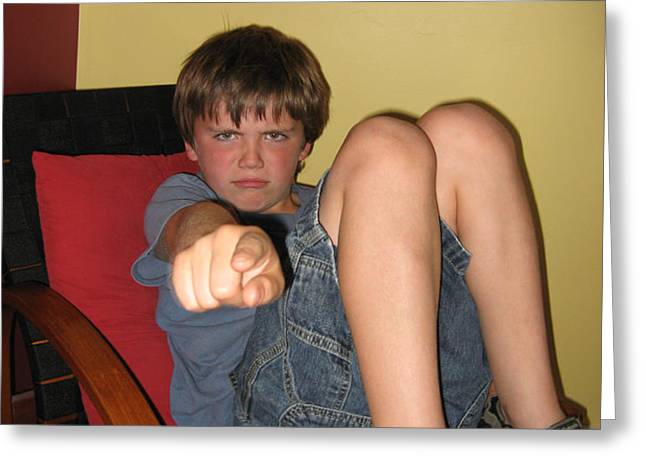 Angry Boy Pointing the Accusing Finger Greeting Card by Christopher Purcell