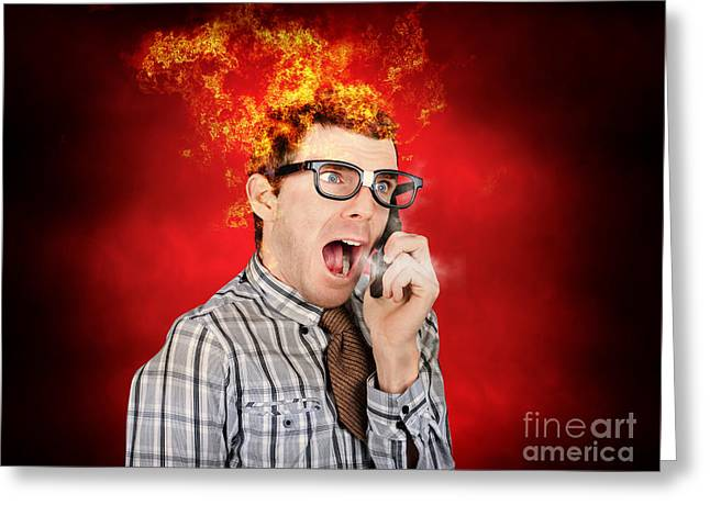Angry Business Man Engulfed In Flames Greeting Card by Jorgo Photography - Wall Art Gallery