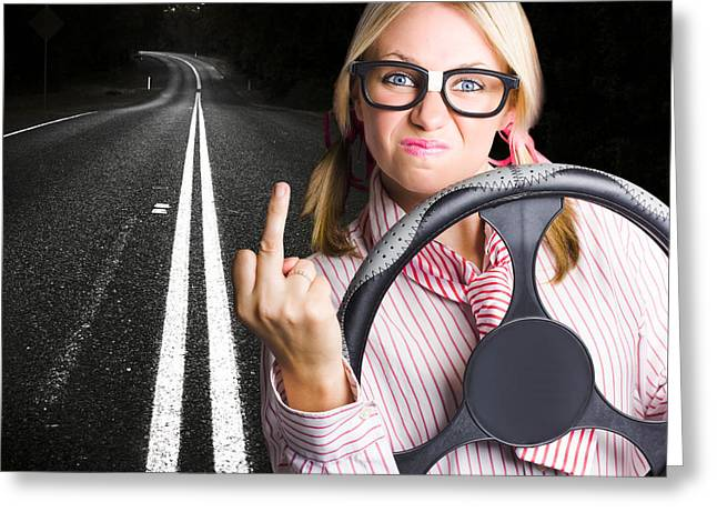 Emotional Gestures Greeting Cards - Angry Business Woman Expressing Road Rage Greeting Card by Ryan Jorgensen