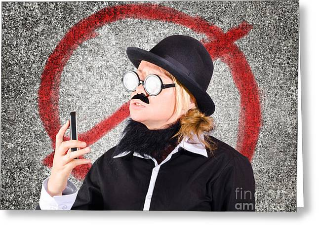 Cellphone Greeting Cards - Angry businessperson with no mobile phone signal Greeting Card by Ryan Jorgensen