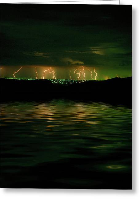 Lightning Strike Greeting Cards - Angry Clouds Greeting Card by Jerry McElroy