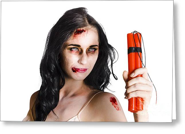 Terrorism Greeting Cards - Angry female zombie with dynamite Greeting Card by Ryan Jorgensen