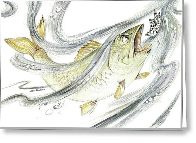 Angry Fish Ready To Swallow Tin Soldier's Paper Boat - Horizontal - Fairy Tale Illustration Fragment Greeting Card by Elena Abdulaeva