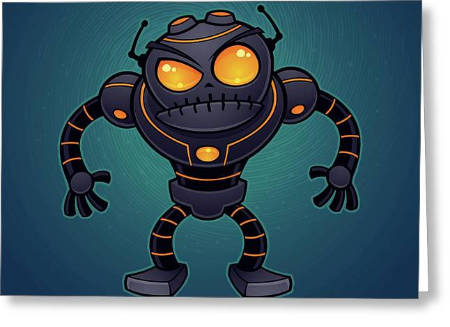 Cyborg Greeting Cards - Angry Robot Greeting Card by John Schwegel