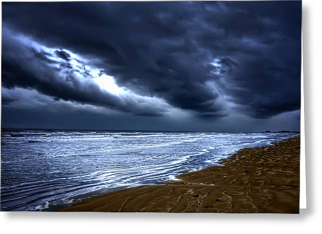 Cecil Fuselier Greeting Cards - Angry Sky Peaceful Sea Greeting Card by Cecil Fuselier
