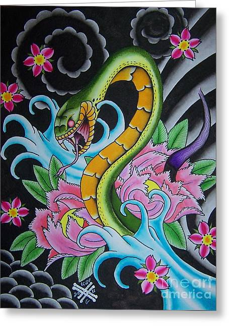 Tattoo Flash Paintings Greeting Cards - Angry Snake Greeting Card by Kev G