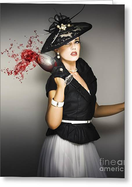 Wine Accessories Greeting Cards - Angry Socialite In Fit Of Pique Greeting Card by Ryan Jorgensen