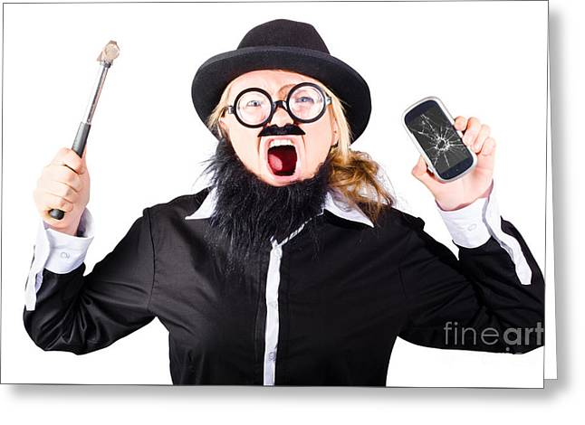 Angry Woman Breaking Mobie Phone Greeting Card by Jorgo Photography - Wall Art Gallery