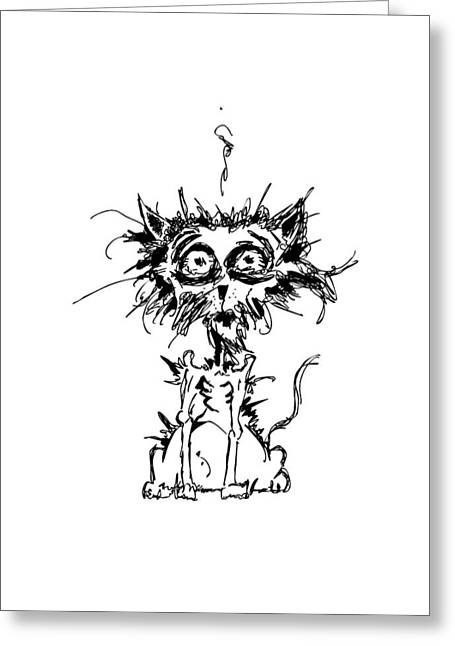 Anxieties Greeting Cards - Angst Cat Greeting Card by Nicholas Ely