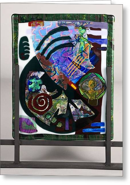 Fused Glass Art Greeting Cards - Angst Greeting Card by Mark Lubich