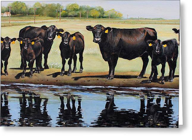 Farm Landscape Greeting Cards - Angus Reflections Greeting Card by Toni Grote