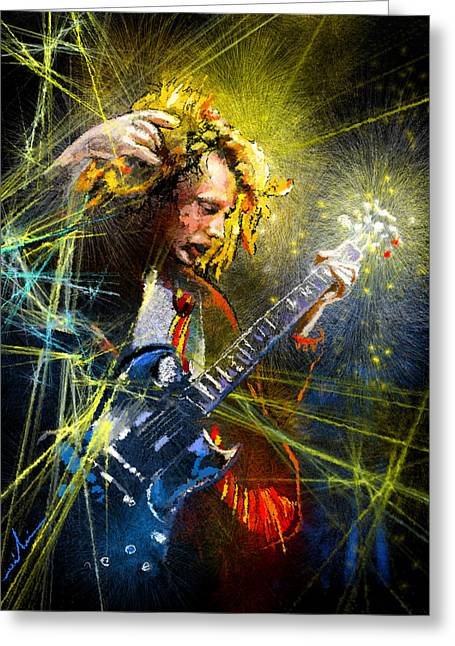 Angus Young Greeting Cards - Angus Young Greeting Card by Miki De Goodaboom