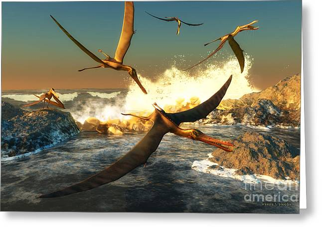 Pterosaur Greeting Cards - Anhanguera Fishing Greeting Card by Corey Ford