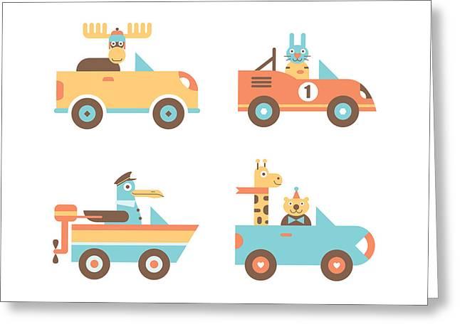 Animal Cars Greeting Card by Mitch Frey