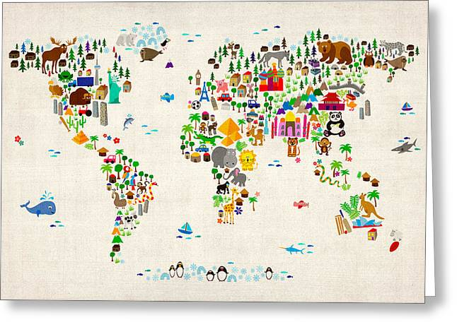 Maps - Greeting Cards - Animal Map of the World for children and kids Greeting Card by Michael Tompsett