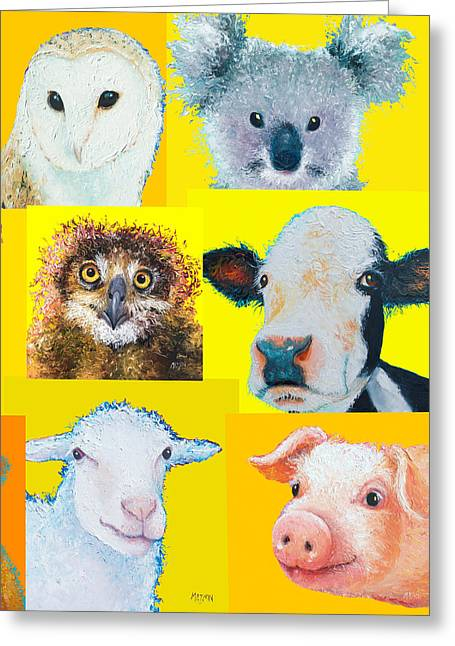 Roosters Greeting Cards - Animal painting collage for nursery decor Greeting Card by Jan Matson