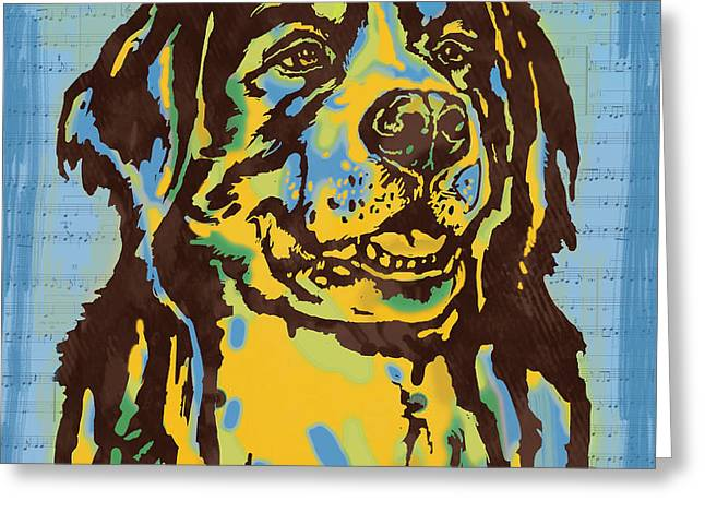 Best Friend Greeting Cards - Animal Pop Art Etching Poster - Dog  15 Greeting Card by Kim Wang