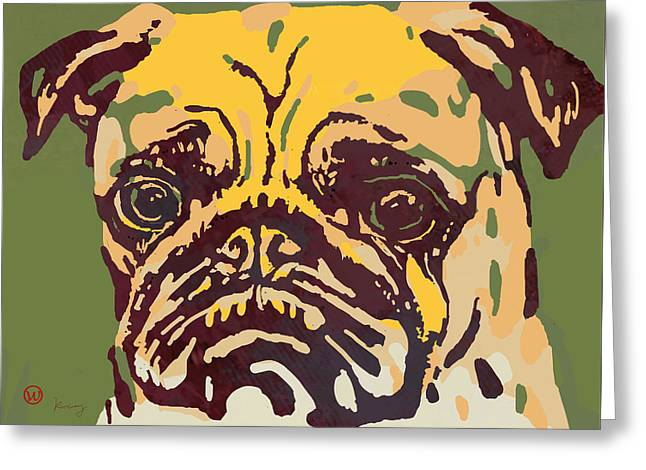 Animal Pop Art Etching Poster - Dog  18 Greeting Card by Kim Wang