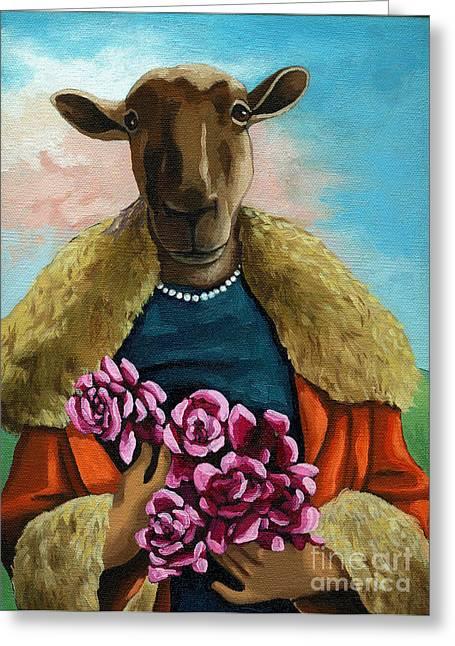 Imaginary Art Greeting Cards - animal portrait - Flora Shepard Greeting Card by Linda Apple
