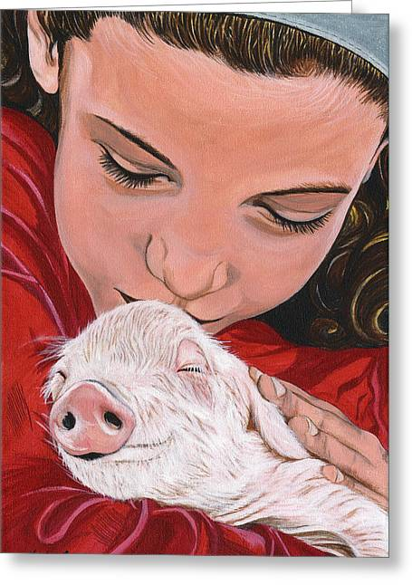 Piglets Greeting Cards - Animal Protector Greeting Card by Twyla Francois