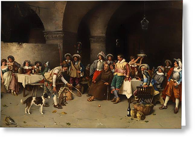 Banquet Greeting Cards - Animal Trainer With Monkeys And Dogs Greeting Card by Cop Agresti