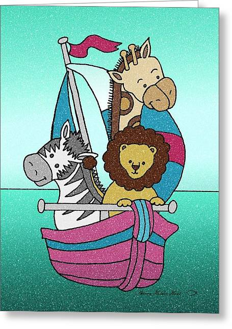 Sailboat Art Mixed Media Greeting Cards - Animal Voyage - 25 Greeting Card by Sherry Holder Hunt