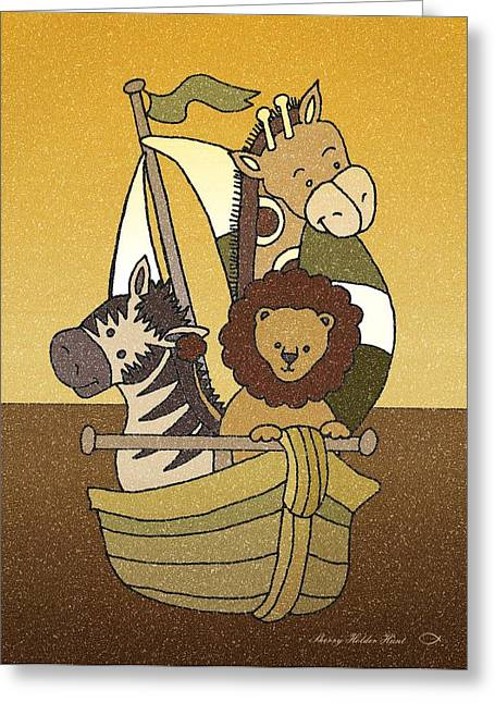 Sailboat Art Mixed Media Greeting Cards - Animal Voyage - Chocolate Greeting Card by Sherry Holder Hunt