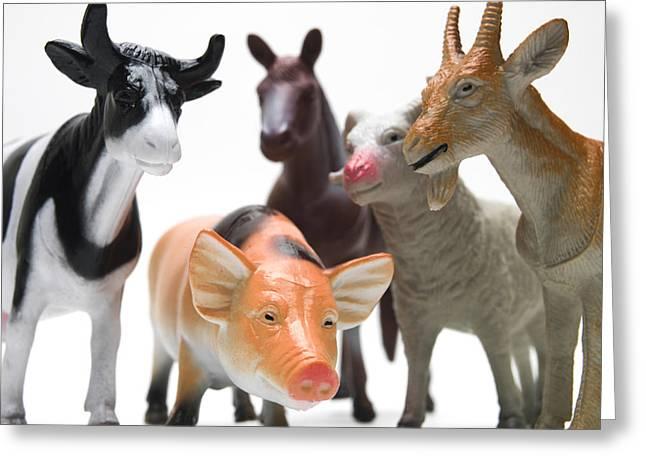 Horse Images Greeting Cards - Animals figurines Greeting Card by Bernard Jaubert