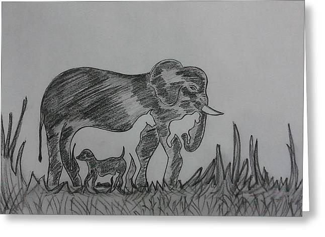 Wild Life Drawings Greeting Cards - Animals In Sync Greeting Card by  Pallavi Gupta Vaze