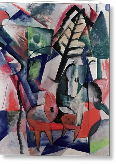 Expressionist Horse Greeting Cards - Animals Under Trees Greeting Card by Franz Marc
