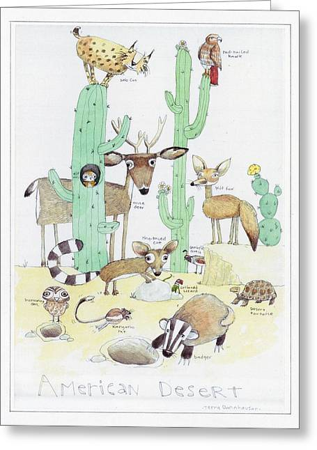 Bobcats Greeting Cards - Animals With Cacti In Desert - F Greeting Card by Gillham Studios
