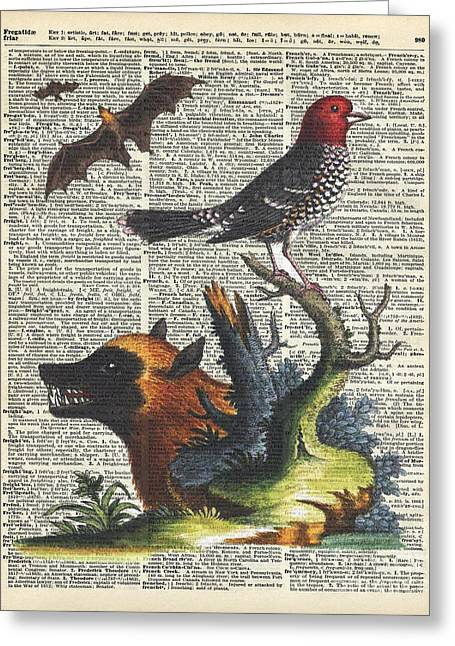 Watercolor With Pen Mixed Media Greeting Cards - Animals Zoology old illustration over a Old Dictionary Page Greeting Card by Jacob Kuch