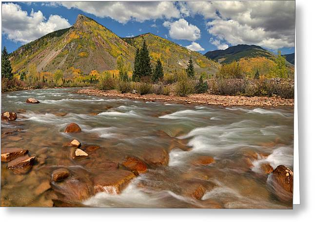 Mountain Road Greeting Cards - Animas River Fall Peaks Greeting Card by Dean Hueber