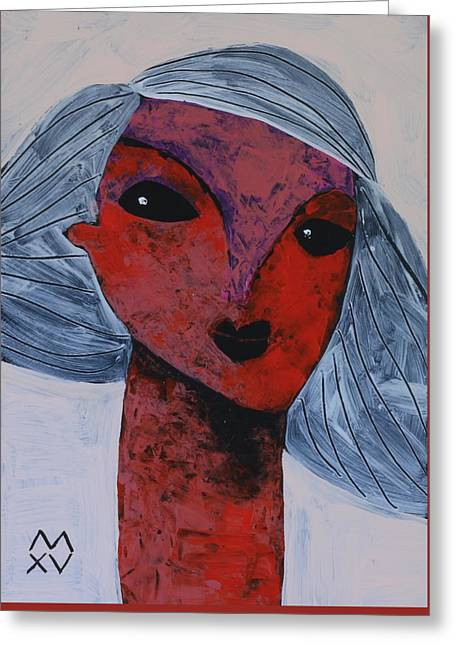 Cubist Mixed Media Greeting Cards - ANIMUS No. 80 Greeting Card by Mark M  Mellon