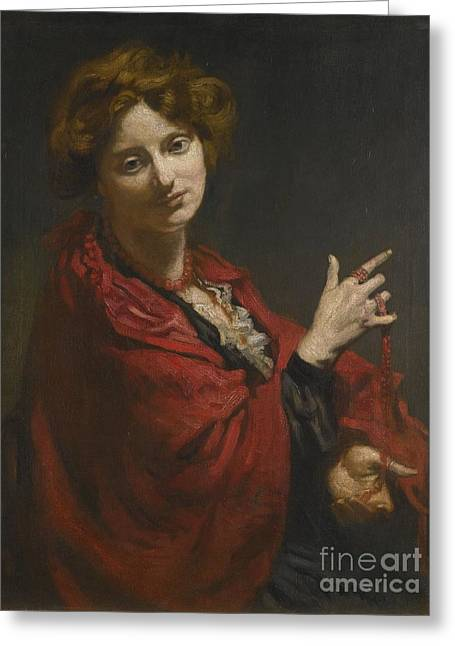 Anita Bartle The Red Shawl Greeting Card by Sir William Orpen