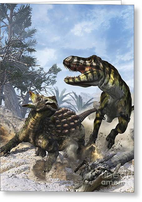 Ankylosaurus Hits Tyrannosaurus Rex Greeting Card by Kurt Miller