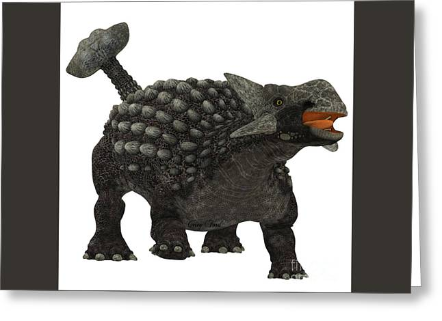 Ankylosaurus Over White Greeting Card by Corey Ford