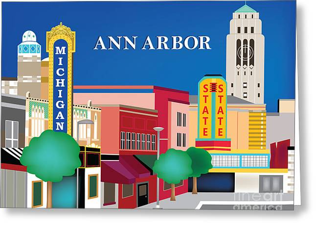 Recently Sold -  - Main Street Greeting Cards - Ann Arbor Michigan Horizontal Wall Art By Loose Petals Greeting Card by Karen Young