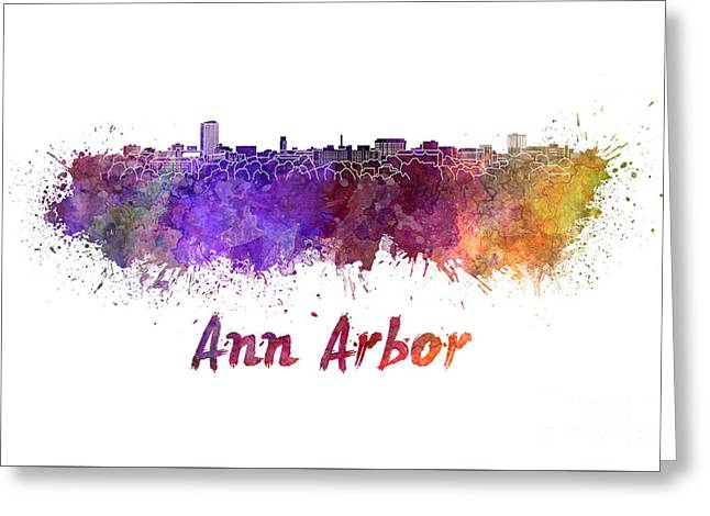 Ann Paintings Greeting Cards - Ann Arbor skyline in watercolor Greeting Card by Pablo Romero