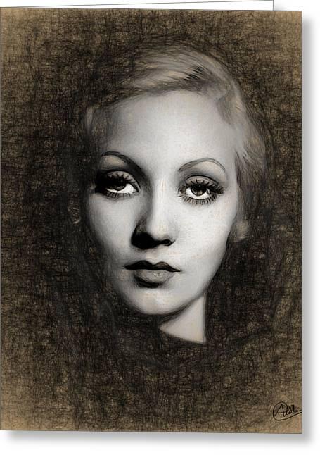 Ann Sothern Portrait Greeting Card by Quim Abella