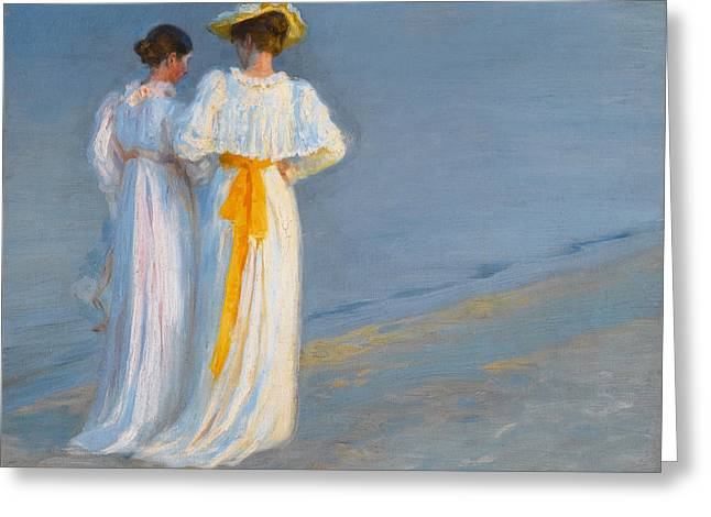 On The Beach Greeting Cards - Anna Ancher and Marie Kroyer on the beach at Skagen Greeting Card by Peder Severin Kroyer